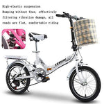 MLL Variable Speed Folding Bicycle, 20 inch Shock Absorber Bicycle, Double Folding Carbon Steel Shock Absorber Bicycle,White,20 Inches