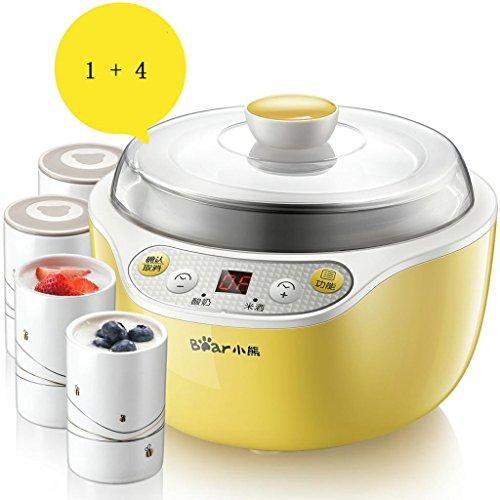 MNII Digital Yoghurt Maker Pure Yoghurt Maker | 1L Stainless steel liner | with 4 Yoghurt Jars | 10 Hour Yoghurt-Automatic - Made 100% Natural Yoghurt yellow