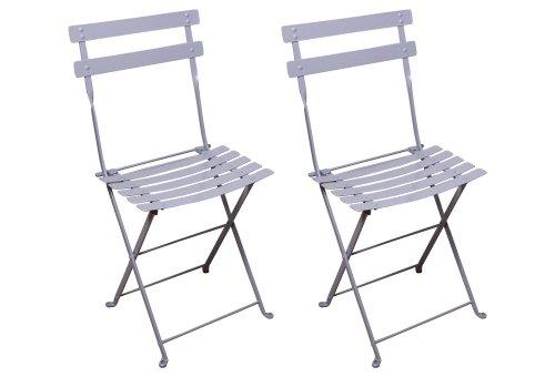 Mobel Designhaus French Café Bistro Folding Side Chair, White Aluminum Frame, Steel Metal Slats (Pack of 2)