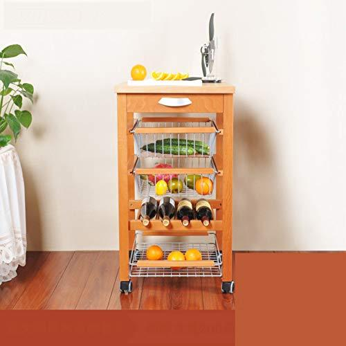 Mobile Storage Kitchen Car,Kitchen Dining Rolling Cart Trolley Steel Wire Basket Shelving Trolley Storage Drawers Dining Portable Stand