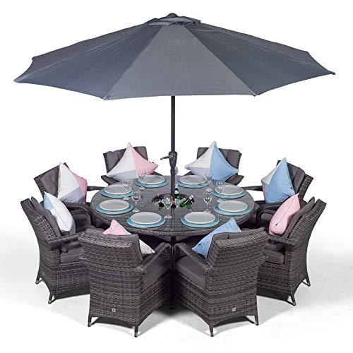 MODERN FURNITURE DIRECT Arizona Luxury 8 Seater Grey Rattan Dining Set with Ice Bucket Drinks Cooler | Outdoor Poly Rattan Garden Table & Chairs Set with Parasol & Cover