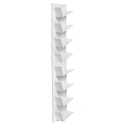 Modern Wood DVD CD Storage Rack Wall Mount Bookshelf [UK Stock] (White)