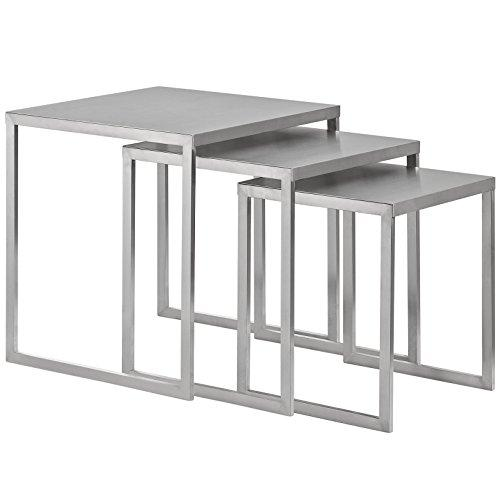 Modway Rail Stainless Steel Nesting Table, Silver