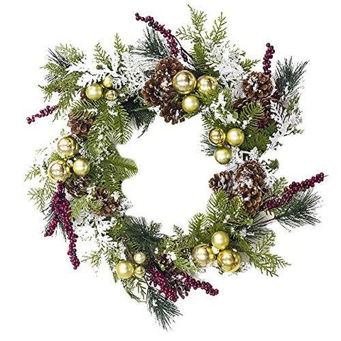 Momangel Pine Cone Ball Christmas Wreath Decors Fall Leaves Natural Front Door Wreath Decorative Floral Garland Thanksgiving Decor Golden