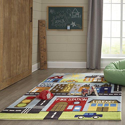 "Momeni Rugs Kids Themed Hand Carved & Tufted Area Rug, Acrylic, Multicolor Town, 3'0"" x 5'0"""
