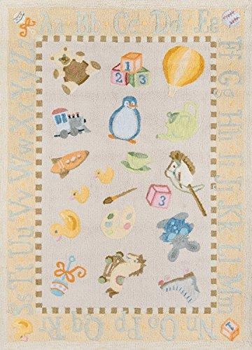 Momeni Rugs LMOINLMI-2PYL3050 Lil' Mo Classic Collection, Kids Themed 100% Cotton Hand Hooked Area Rug, 3' x 5', Pale Yellow