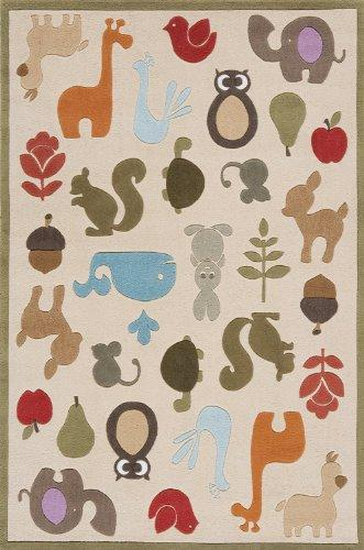Momeni Rugs LMOJULMJ-2IVY3050 Lil' Mo Whimsy Collection, Kids Themed Hand Carved & Tufted Area Rug, 3' x 5', Multicolor Animals on Ivory