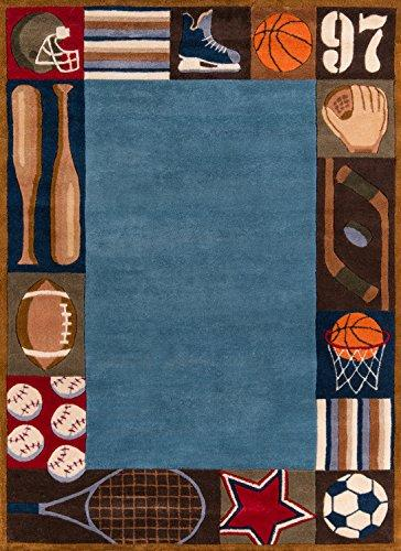 Momeni Rugs LMOJULMJ-4DNM3050 Lil' Mo Whimsy Collection, Kids Themed Hand Carved & Tufted Area Rug, 3' x 5', Denim