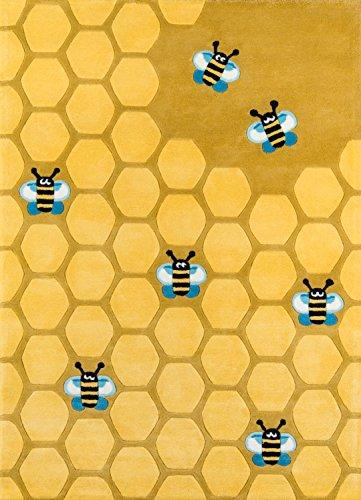 Momeni Rugs LMOJULMJ15HCG3050 Lil' Mo Whimsy Collection, Kids Themed Hand Carved & Tufted Area Rug, 3' x 5', Honeycomb Yellow