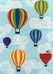 Momeni Rugs LMOJULMJ20MTI3050 Lil' Mo Whimsy Collection, Kids Themed Hand Carved & Tufted Area Rug, 3' x 5', Multicolor Hot Air Balloons on Sky Blue