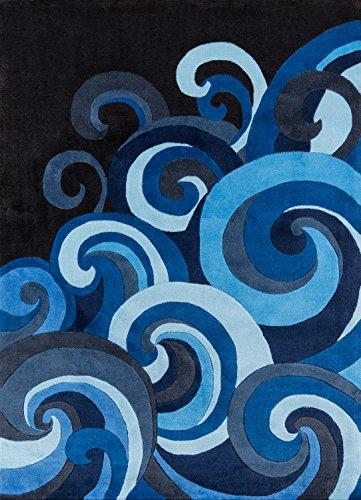 Momeni Rugs LMOTWLMT-1SUR3050 Lil' Mo Hipster Collection, Kids Themed Hand Carved & Tufted Area Rug, 3' x 5', Surf Blue
