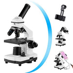 Monocular Microscope for Students and Kids, 200-2000x Magnification Powerful Biological Educational Microscope with Operation Accessories(10p), Slides Set(15p), Phone Adapter, Wire Shutter & Backpack