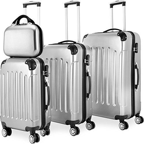 208533155022 Monzana Hard Shell Suitcase Set Trolley Luggage 4 Wheel Spinner Lightweight  4 Pieces Travel Case Black Blue Silver M L XL Beauty Case