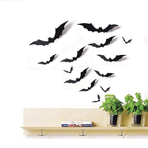 Moon Boat 24 PCS Bat Cutouts 3D Assorted Sizes Black - Halloween Party Home Wall Sticker Decoration Supplies