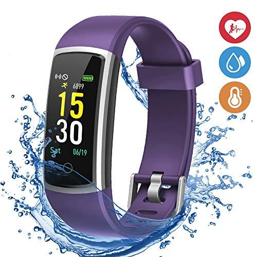 moreFit Fitness Tracker, Waterproof Activity Tracker Smart Watch with Heart Rate Blood Pressure Monitor, Wearable Smart Wristband Pedometer Watch with Sleep Monitor for Woman Men Kids,Plum