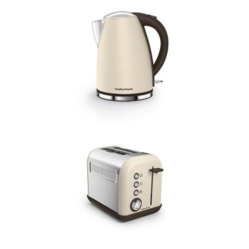 Morphy Richards 103003 Accents Jug Kettle and 222004 Accents 2-Slice Toaster, 850 W - Sand