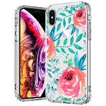 MOSNOVO Case for iPhone XS/iPhone X, Girls Red Roses Floral Flower Printed Clear Design Transparent Plastic Hard Back Case with TPU Bumper Protective Case Cover for iPhone X/iPhone XS