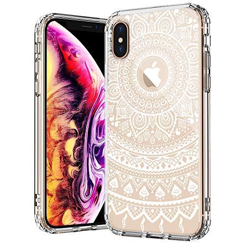 MOSNOVO Case for iPhone XS/iPhone X, White Henna Mandala Floral Lace Pattern Printed Clear Design Transparent Plastic Back with TPU Bumper Protective Case Cover for iPhone X/iPhone XS