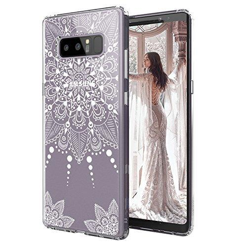 MOSNOVO Galaxy Note 8 Case, Galaxy Note 8 Clear Case, White Henna Mandala Floral Lace Clear Design Printed Transparent Hard Back Case with TPU Bumper Protective Case Cover for Samsung Galaxy Note 8