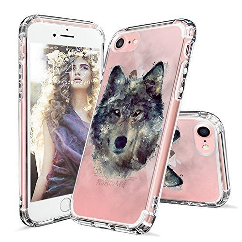 MOSNOVO iPhone 8 Case, iPhone 7 Case, iPhone 7 Clear Case, Wolf Clear Design Printed Transparent Plastic Hard Back with TPU Bumper Protective Back Case Cover for iPhone 7 (2016) / iPhone 8 (2017)