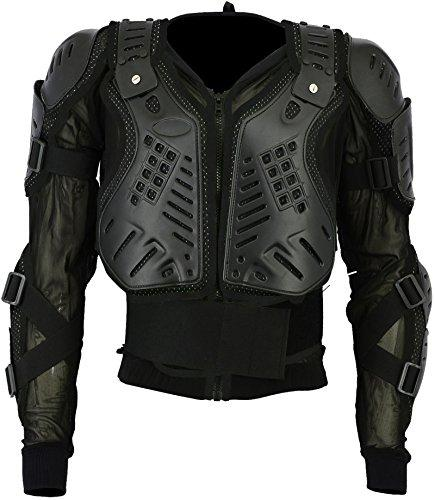 Motocross Motorbike Body Armour Motorcycle Protection Jacket Armoured Mountain Cycling Riding Skating Snowboarding Track Crash Guard CE Approved (Black, X-Large Chest 42)