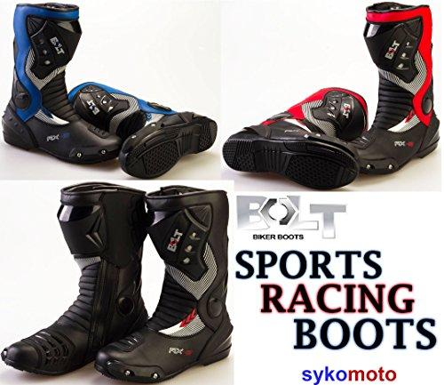 MOTORBIKE BOLT S12 RX2 ADULT SPORTS BOOTS Motorcycle Mens Waterproof Biker Protection Slider Racing Touring Armour Boots (BLUE, UK 9 / EU 43)