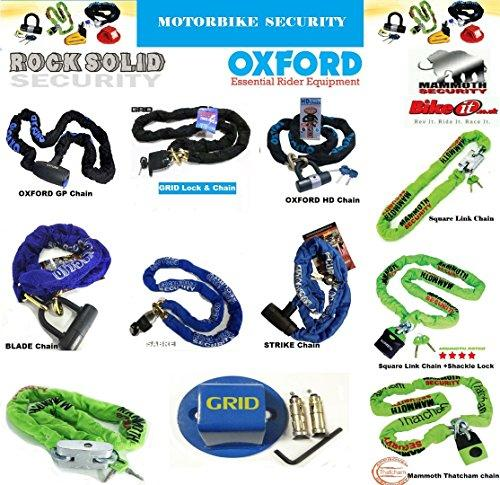 Motorbike Motorcycle Scooter Heavy Duty Chain & Padlocks Rock Solid XTRM OXFORD BIKEIT THATCHAM Approved Mammoth Anti-Theft Security Chain Locks Of All Types All Sizes + Grid Ground Wall Anchor - OXF GP 1.5