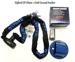 MOTORBIKE OXFORD GP CHAIN LOCK 1.5M with Motorcycle Scooter XTRM GRID Security Ground Anchor