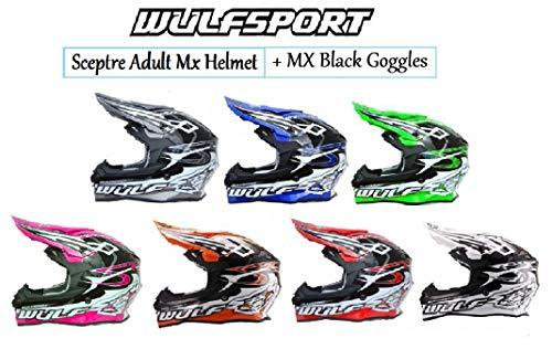 MOTORBIKE WULFSPORT SCEPTRE ADULT MX HELMET Motorcycle Off Road Quad ATV Sports Enduro ACU Approved Helmet X1 BLACK Goggle - White - Large