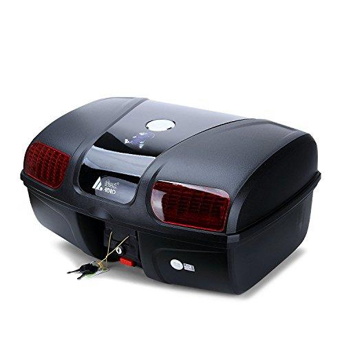 Motorcycle Luggage,AUTOINBOX Motorcycle Motor Motorbike Top Back Box Case Rear Luggage Storage Universal (47L with LED light)