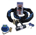 Motorcycle Motorbike Security Kit - Oxford Heavy Duty 2.0m Chain and Lock Sold Secure With Grid 2 Bolt Ground Anchor