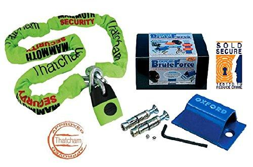Motorcycle Motorbike Security Thatcham Approved Device Chain & Lock 1.8m + Oxford Ground Anchor