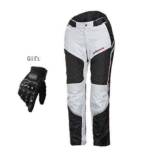Motorcycle Protective Clothing Suitable For All Seasons Comfortable Waterproof Anti-fall Motorcycle Jacket Warm Lining Is Detachable CE Safety Protector Detachable,(White) Pants-L