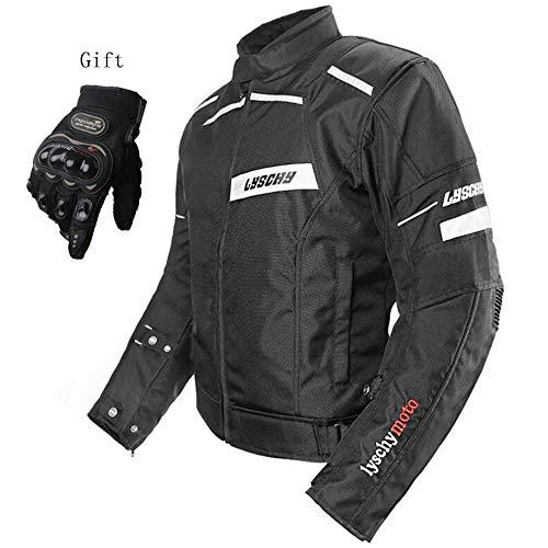 Motorcycle Protective Clothing Suitable For All Seasons Waterproof Anti-fall Built-in Detachable CE Safety Armor Motorcycle Jacket Removable Warm Lining Send Gloves,(Black) Tops-XXL
