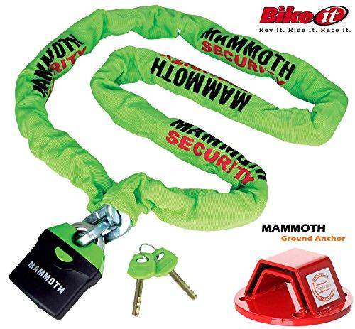Motorcycle Security Chain MAMMOTH LOCM009 Motorbike Scooter Chain Lock 180CM + MAMMOTH Thatcham Heavy Duty Security Ground Anchor