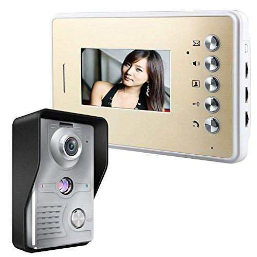 MOUNTAINONE 4.3 Inch Video Door Phone Doorbell Entry Intercom System Kit with 1-camera 1-monitor TFT LCD Screen Unlock IR Night Vision Rainproof Home Security