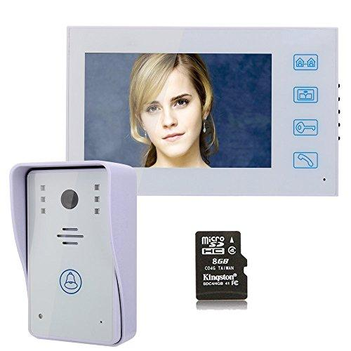 "MOUNTAINONE 7"" Recording Video Door Phone Intercom Doorbell With 8G TF Card Touch Button Remote Unlock Night Vision Security CCTV Camera Home Surveillance"