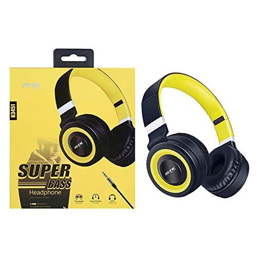 moveteck On-Ear Headphones with Microphone K3451 Super Bass Yellow and Black