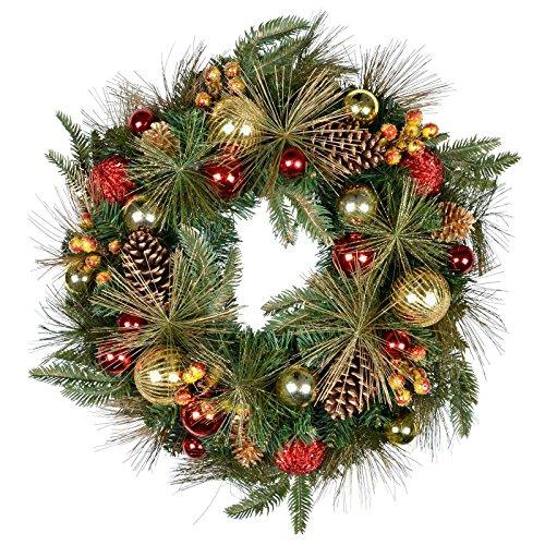 "Mr Crimbo Gorgeous Luxury Christmas Wreath - Large Size 24"" (60cm) Xmas Wreath Decorated With Pine Cones Berries Red And Gold Glitter Shining Baubles - A Fantastic Christmas Decoration For Any Home"
