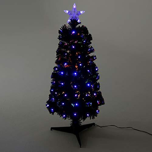 mr crimbo pre lit christmas tree artificial black pine slim pencil shaped with multicoloured led