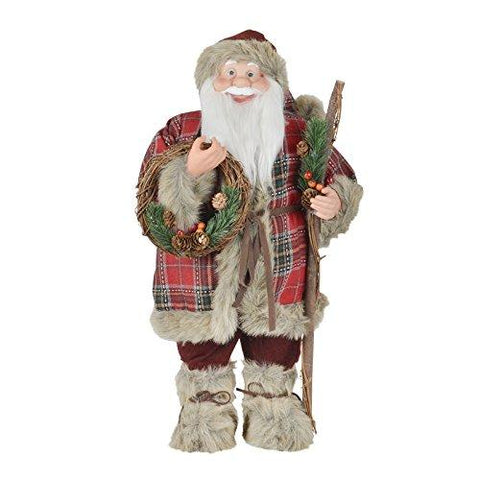 "Mr Crimbo Standing Santa Christmas Room Decoration 60cm (24"") Plush Figure With Check Jacket Red Jingle Bell Hat Faux Fur Boots Staff Stick Pine Cones Foliage Twig Wreath Novelty Ornament"