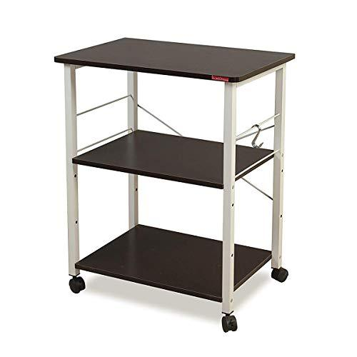 Mr IRONSTONE® 3-Tier Microwave Stand Storage Cart with Wheel Kitchen Oven Baker's Rack Cart Workstation Shelf