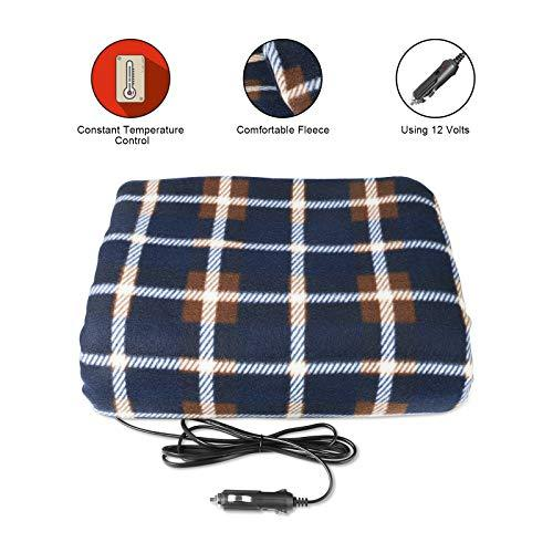 MRCARTOOL 12V Car Electric Blanket -Blue Plaid Premium Quality Blanket for Cold Days and Nights Road Trip, Home and Camping Comfy Protector