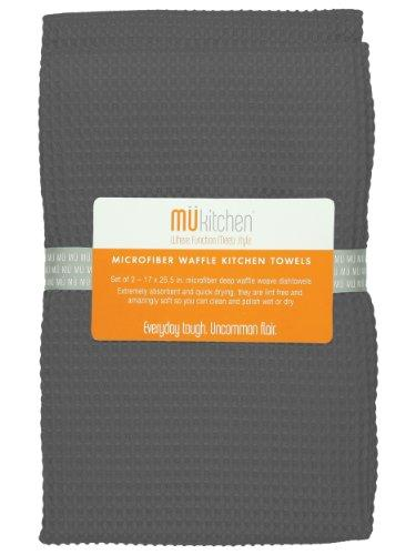 MUkitchen Microfiber Waffle Dishtowel, 17 by 25-1/2 Inches, Set of 2, Cadet Grey