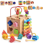 Multi-function Wooden Activity Cube 5-in-1 Center, Beads Maze Roller Coaster Preschool Early Educational Learning Box Xylophone Toys for Child Kids Boys Girls