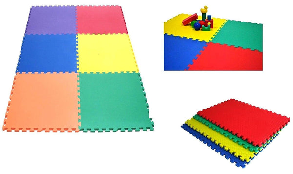 Multicolour Interlocking Eva Soft Foam Exercise Floor Mat Gym Garage Office Kids Play Mat Floor Carpet Protector Aerobic Yoga Mats (20 Mats- 80 Sq Feet)