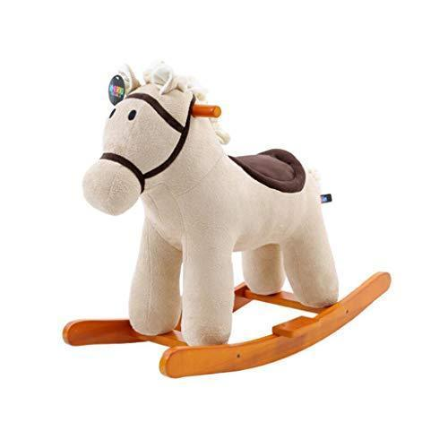 Music Trojan Children's Rocking Horse Dual-use Rocking Cradle Baby Toys Solid Wood Baby Rocking Chair Birthday Gift