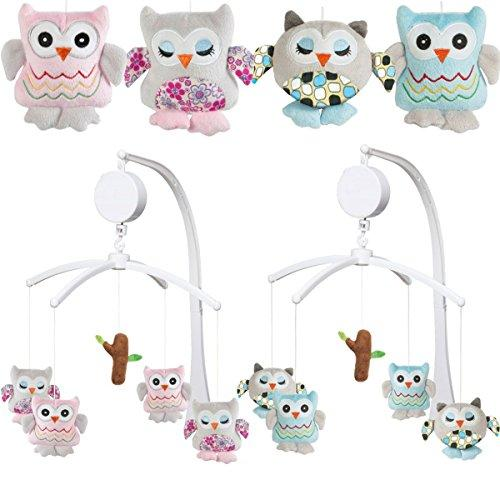 Musical Mobile OWL for Baby Cot (0+) (PINK)