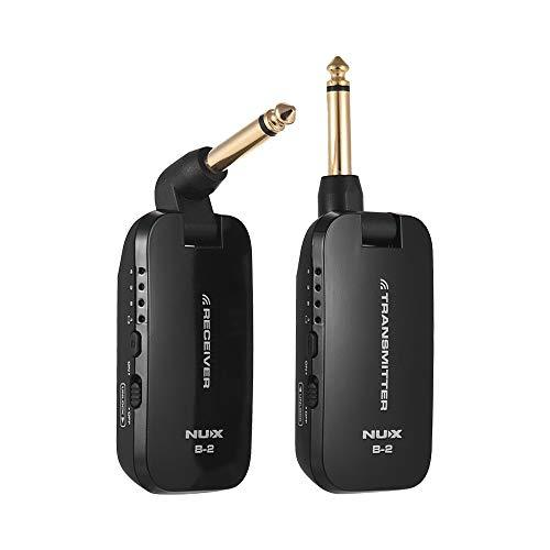 Muslady 2.4G Guitar Wireless System Transmitter & Receiver NUX B-2 with 4 Channels Built-in Rechargeable Lithium Battery for Electric Guitar Bass