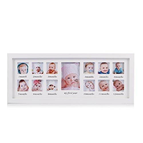 My First Year Baby Photo Frame Newborn Baby Keepsake Frame Kit Wood Kids Wall hanging picture frame 12 month photo frame (White) - Unique Baby Gifts The Perfect Decorations for Room Wall Feibi